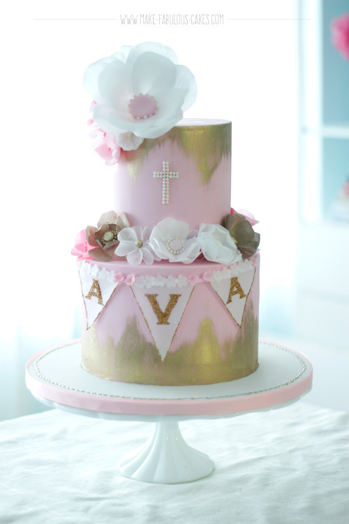 Pink & Gold fondant Christening Cake