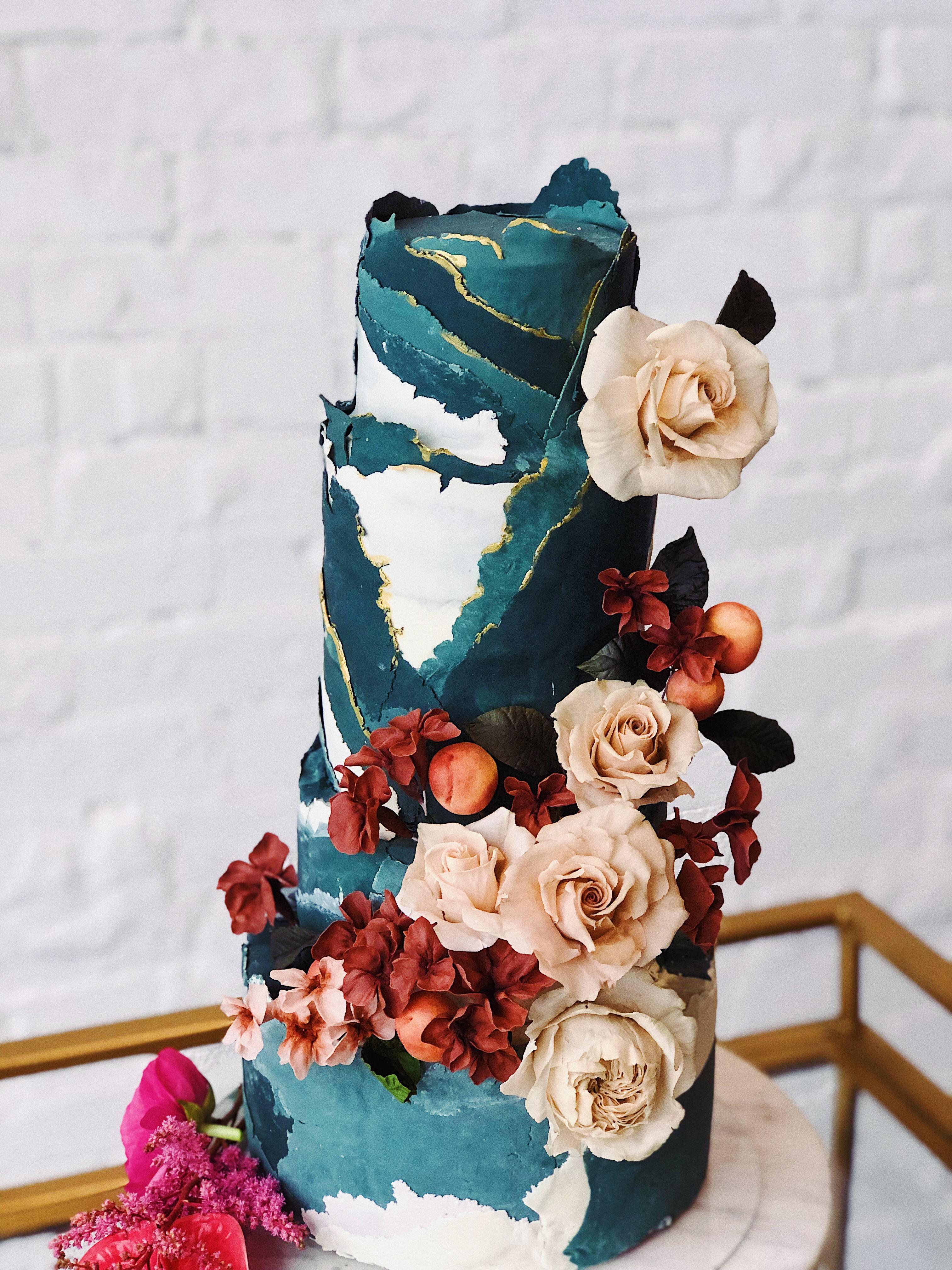 Ripped fondant turquoise cake