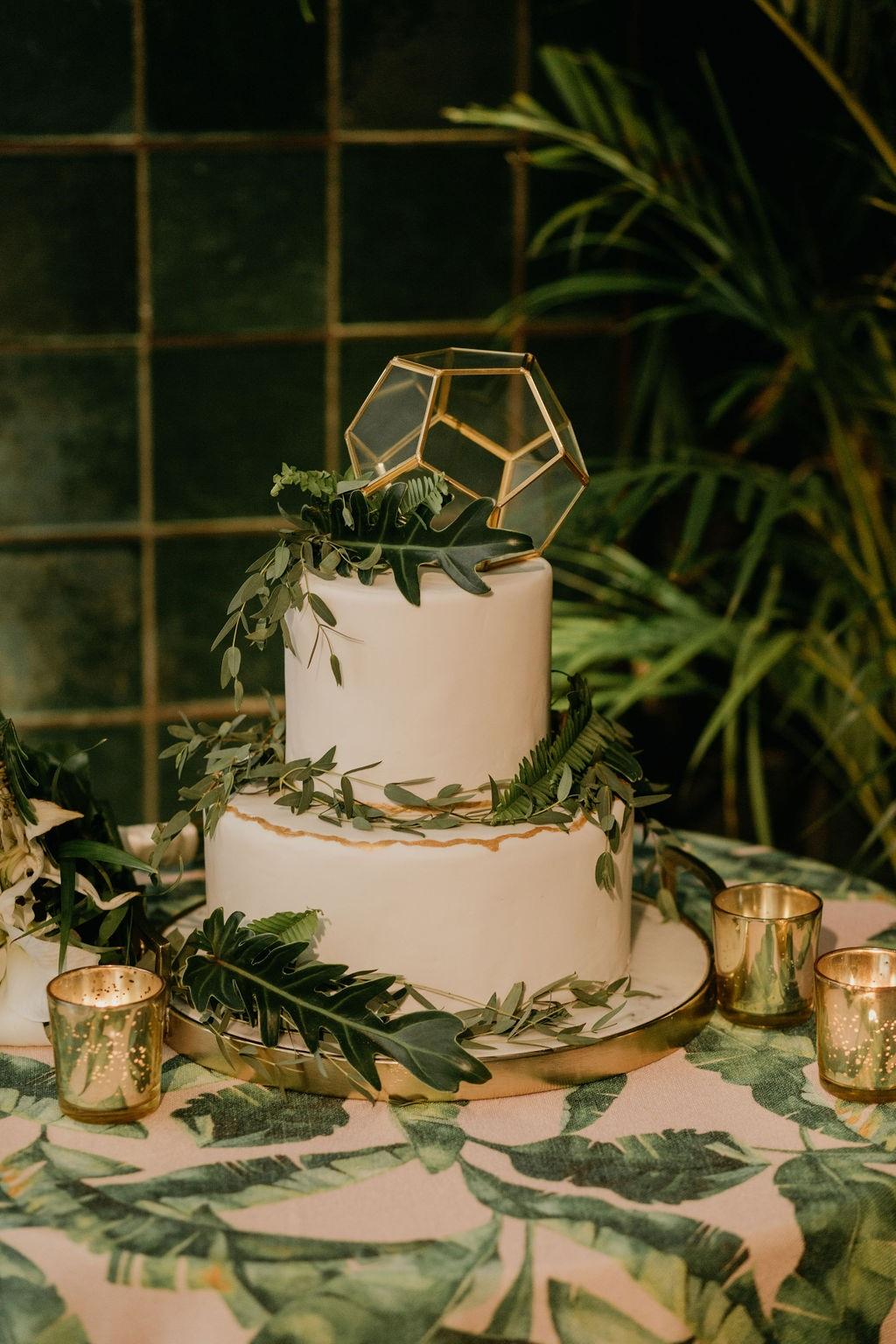 White fondant boho styled cake