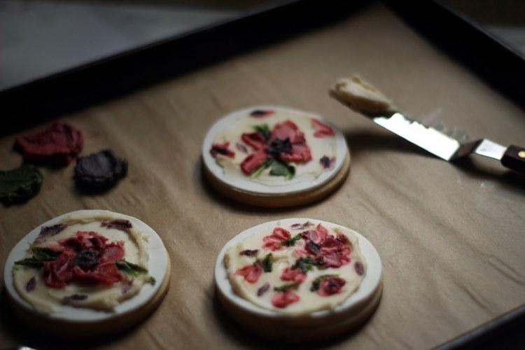 Handprinted fondant cookies