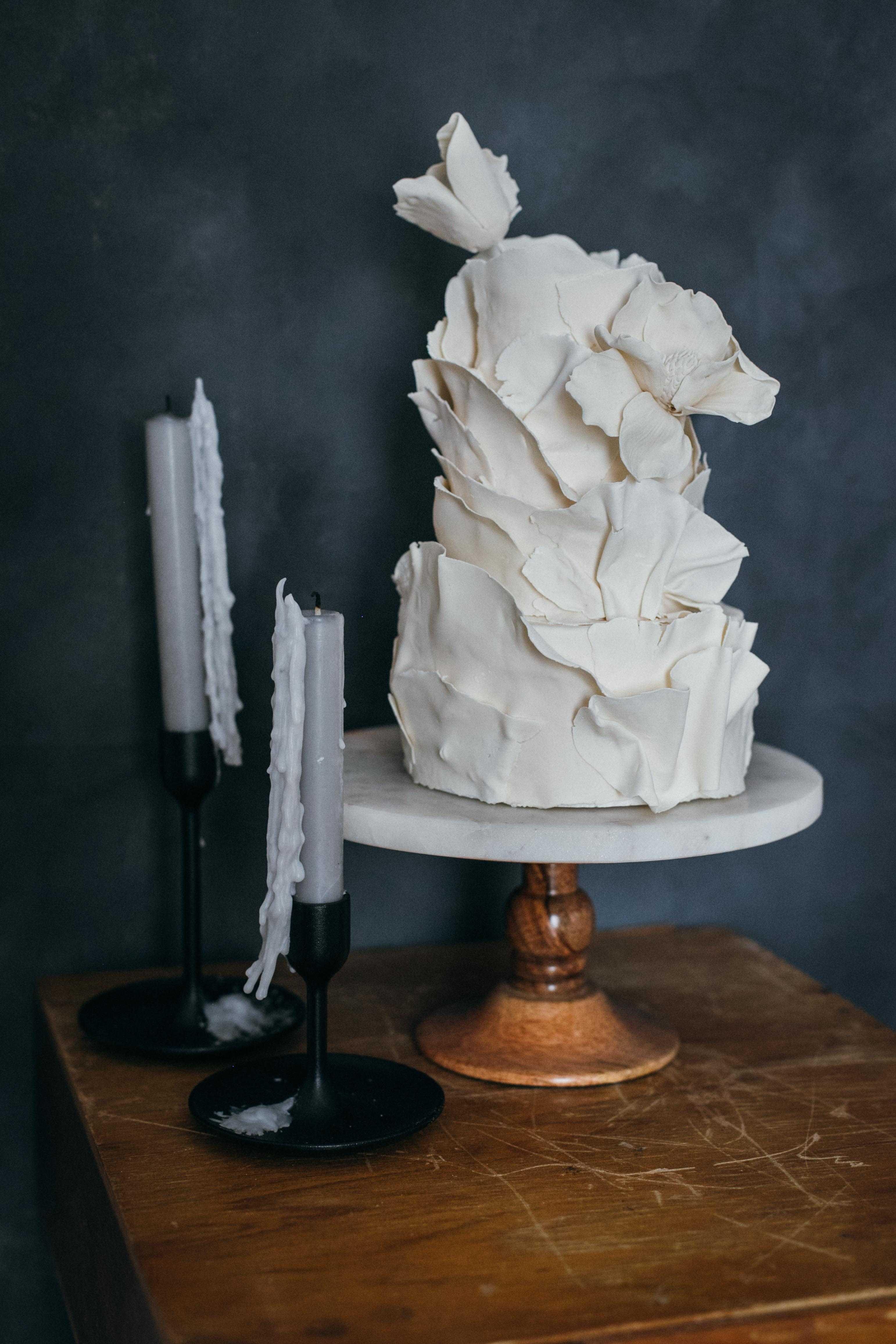 Ivory tiered ruffle cake