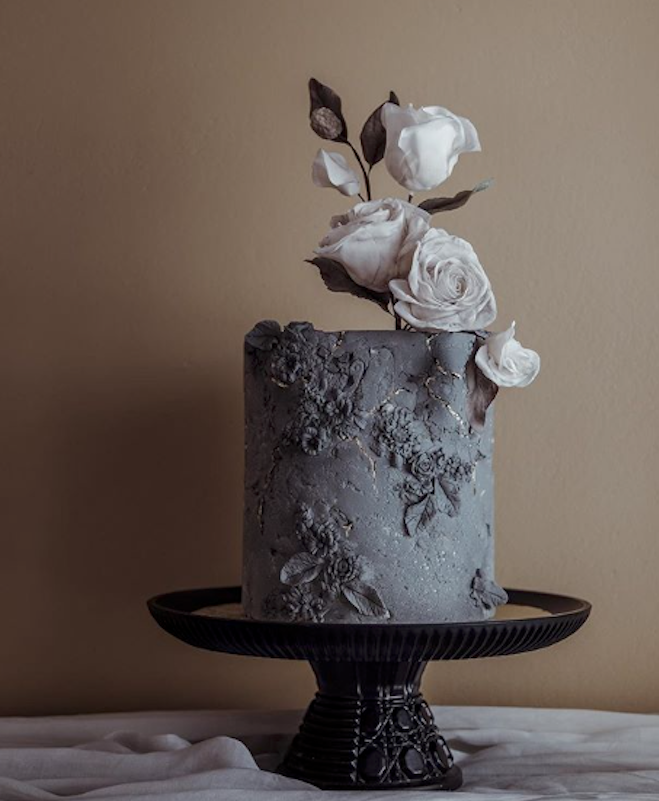 All black fondant cake with stone texture