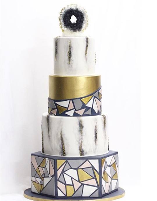 Black and gold modern tile geometric fondant wedding cake made with Satin Ice by Deco Cake