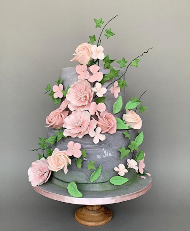 Gray fondant wedding cake with baby pink sugar flowers