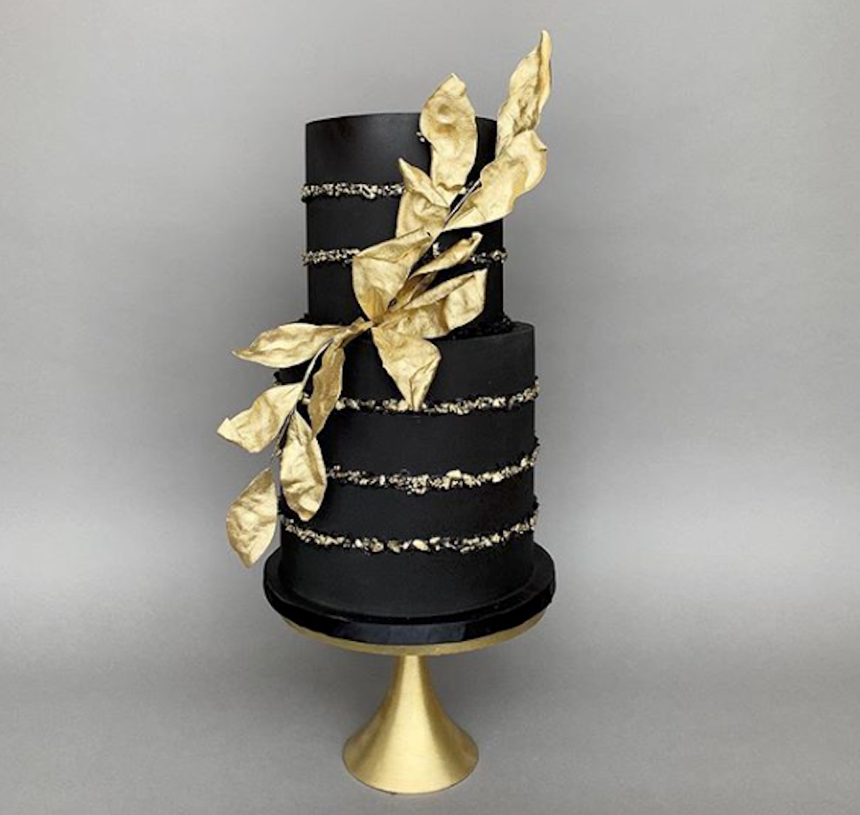Black gold leaf fondant wedding cake