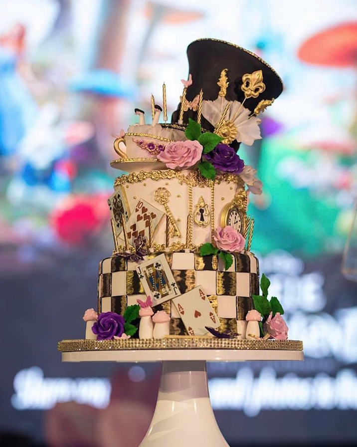 Alice in Wonderland fondant wedding cake