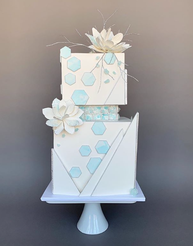 White square fondant wedding cake with geometrics