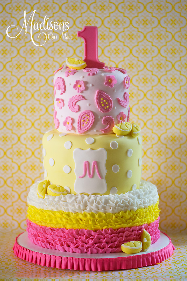 Pink lemonade ombre first birthday fondant cake