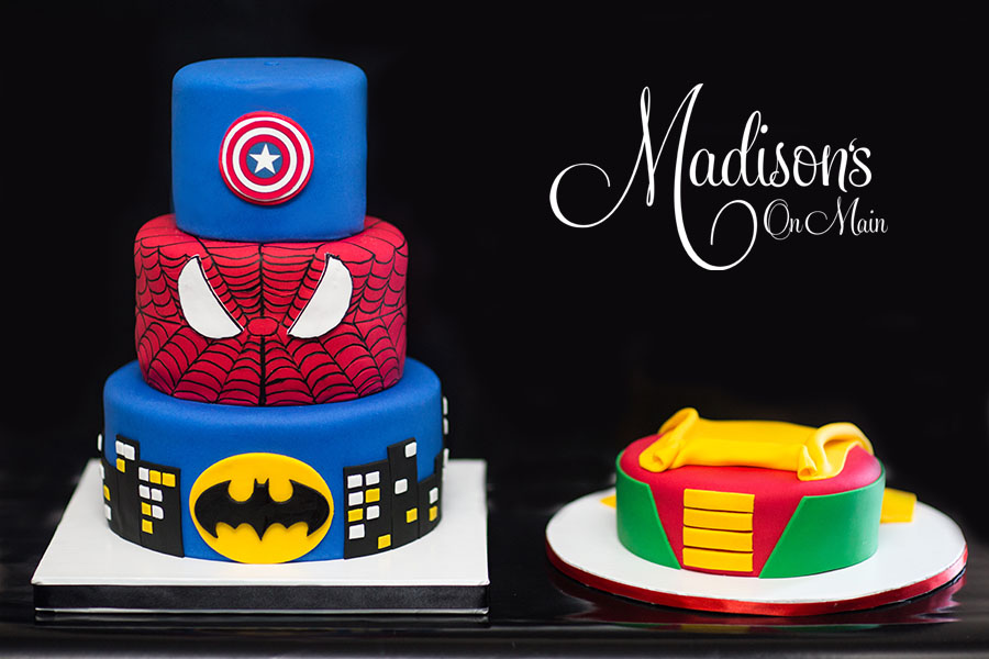 Superhero themed birthday cakes