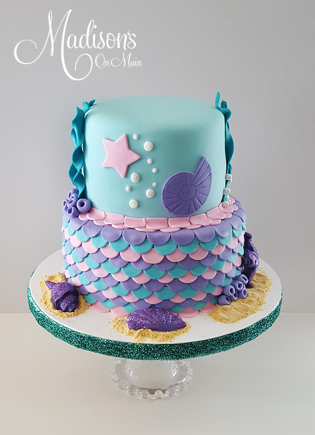 Turquoise and purple mermaid birthday cake