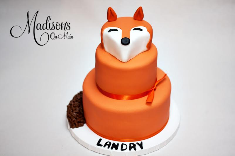 Orange fox birthday cake