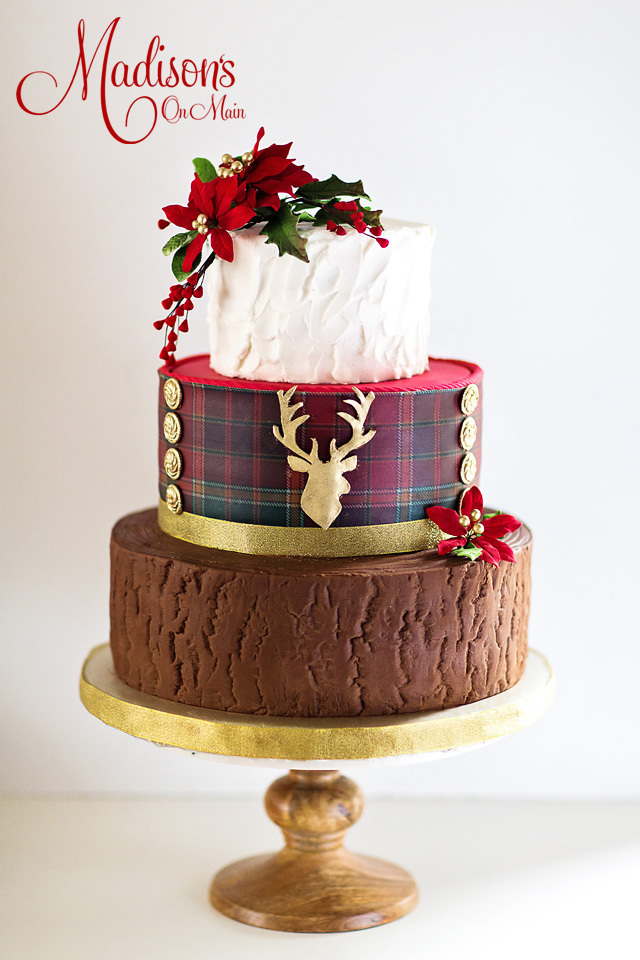Rustic Tartan Christmas Wedding Cake