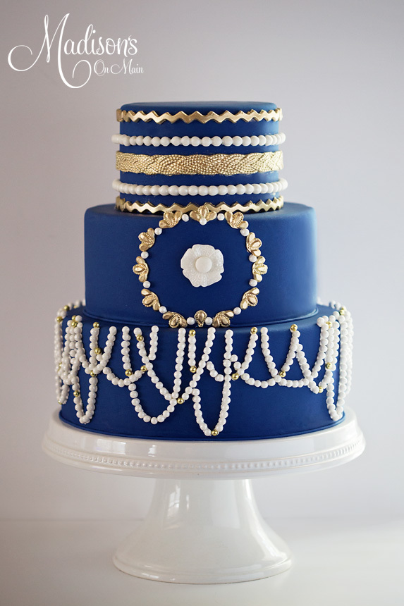 Blue Parisian Wedding cake with sugar pearls