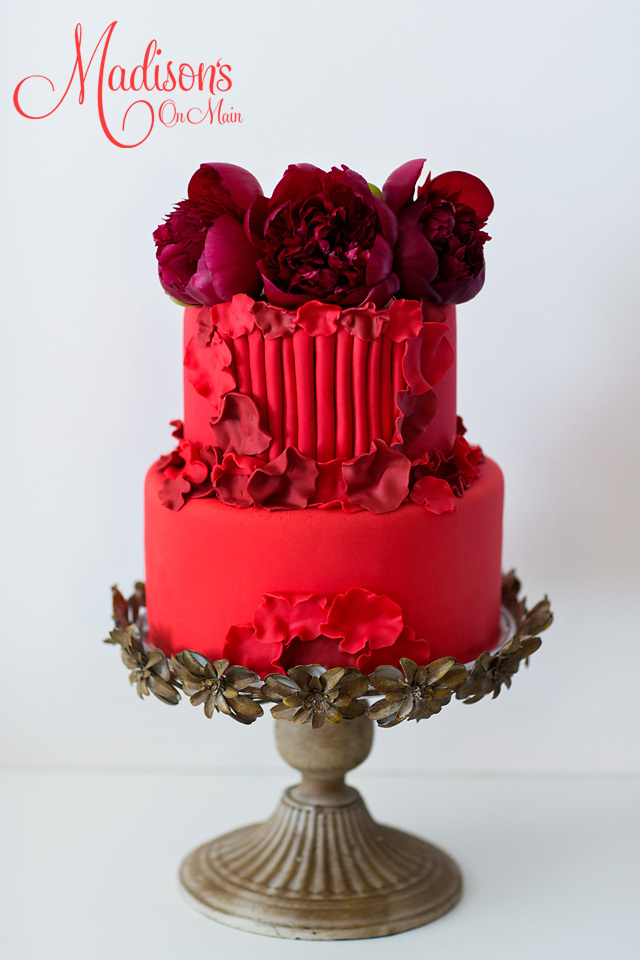 Dark Red fondant wedding cake with roses