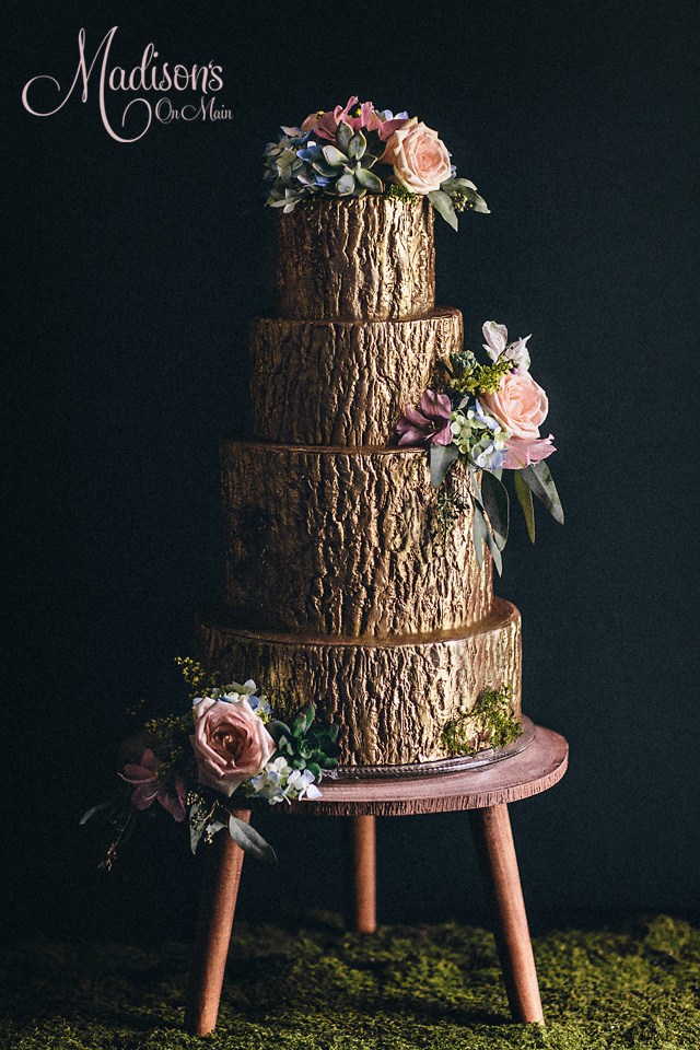 Brown rustic bark wedding cake