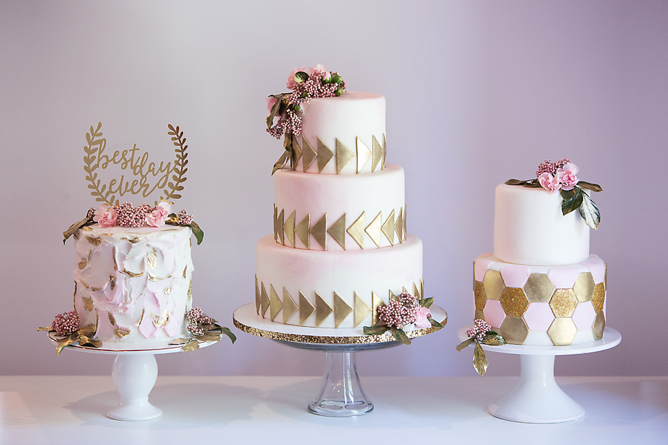 Trio of pink blush wedding cakes