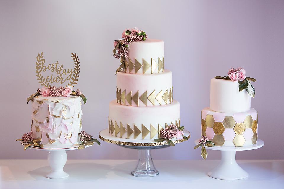 Trio of pink blush wedding cakes