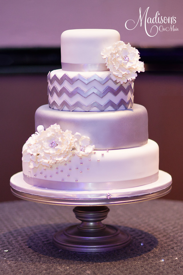 Silver and white chevron wedding cake