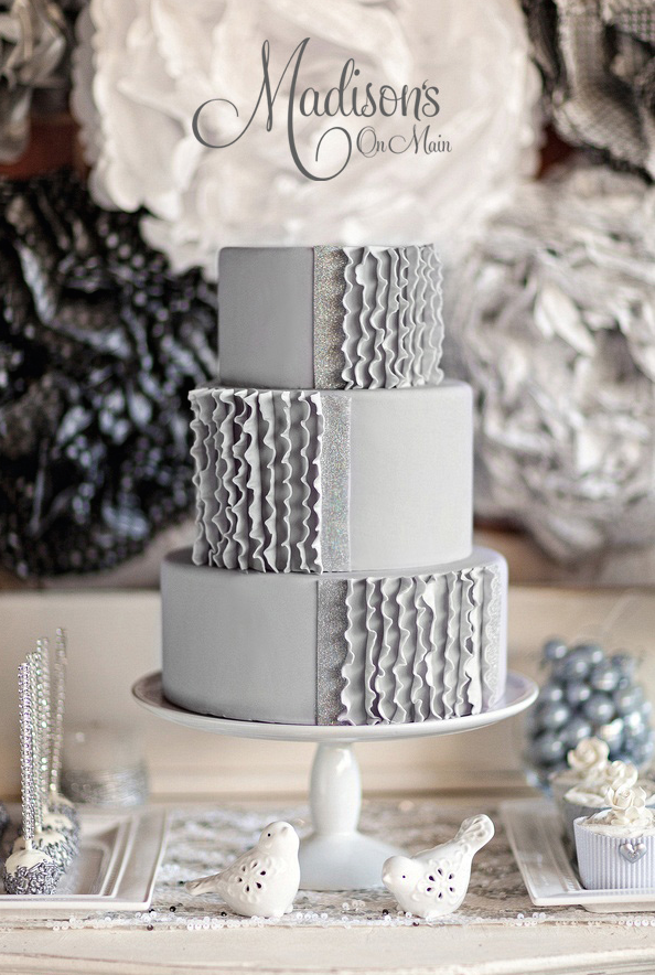 All Gray fondant wedding cake with Ruffles