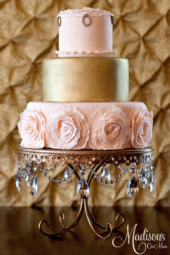 Rose Gold and light pink fondant Wedding cake