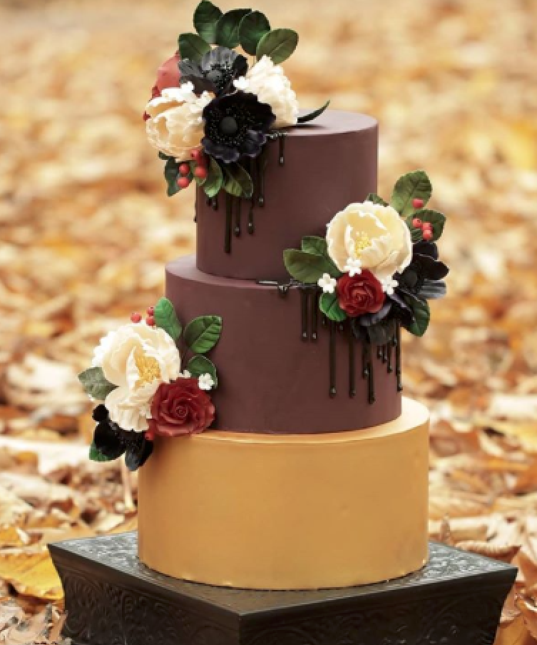 Brown and gold fondant wedding cake