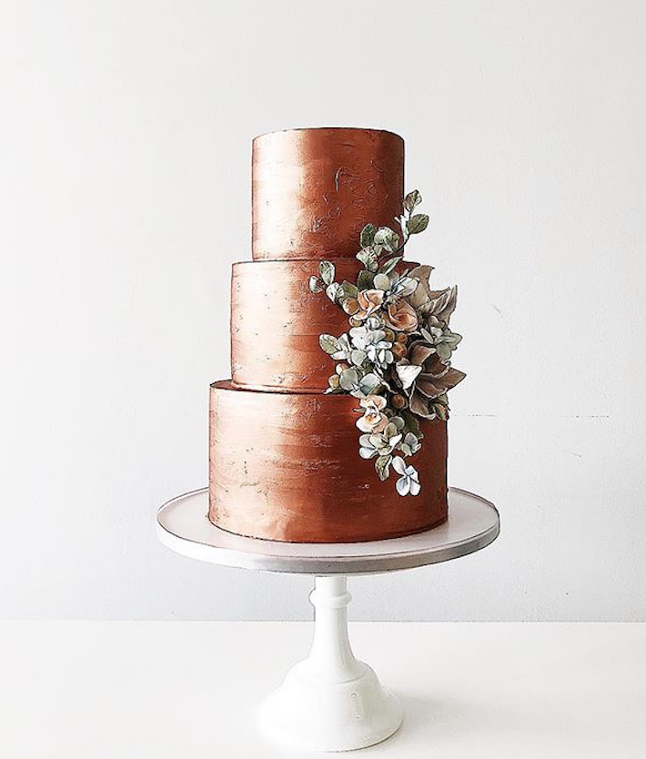 All copper fondant wedding cake
