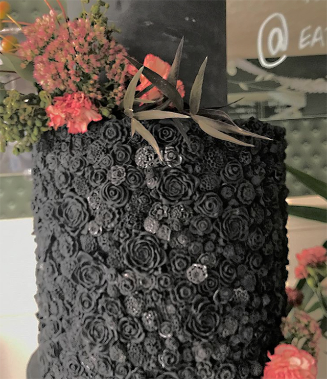 All black textured fondant wedding cake