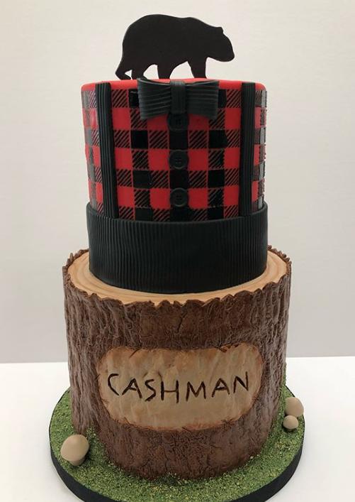 Red plaid and tree bark birthday cake