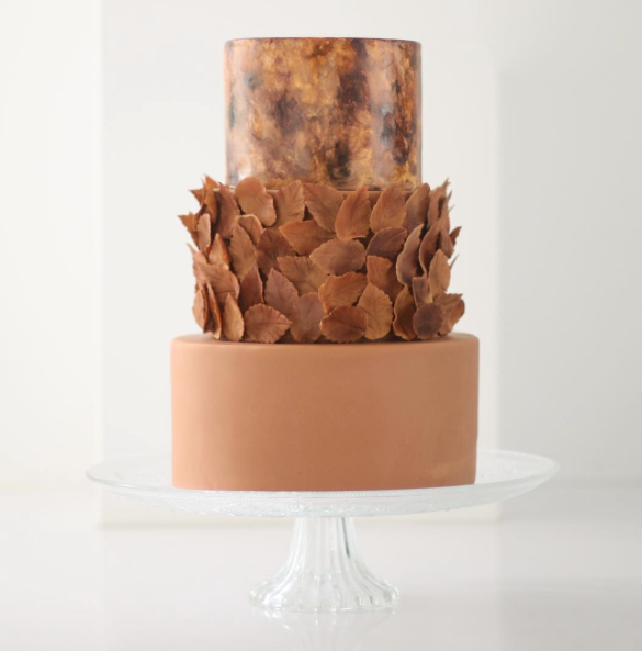 Copper painted and brown feathered wedding