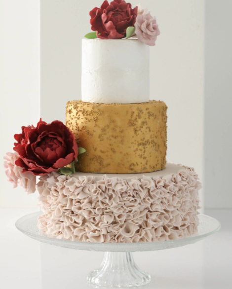 Gold sparkle and pink ruffle wedding
