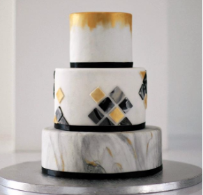 Gray marbled with black fondant geometric wedding