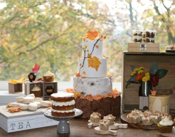 White bark fondant wedding cake with fall leaves