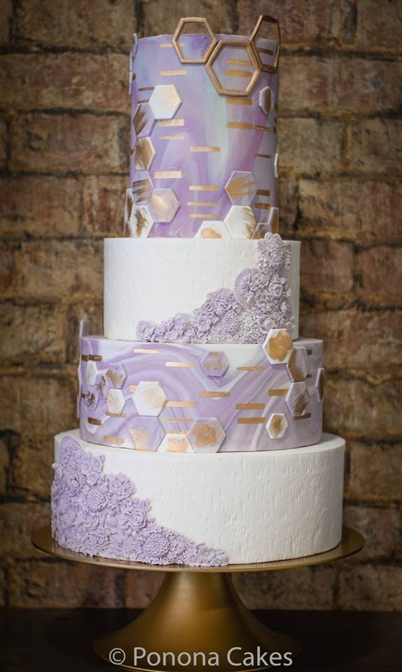 White and Lavender geometric fondant wedding cake