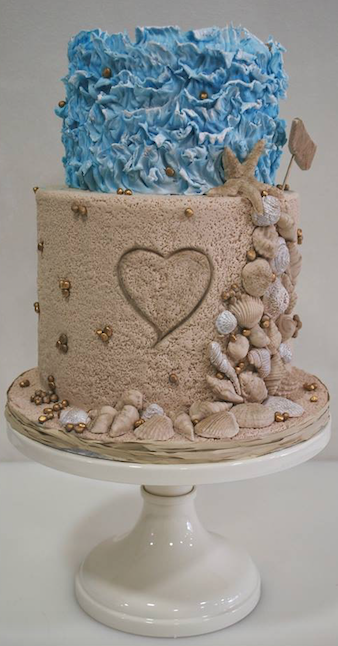 Summer sand and seashell wedding cake
