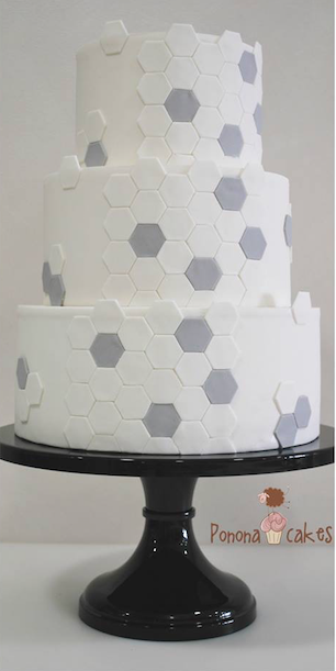 Gray and white fondant geometric wedding cake