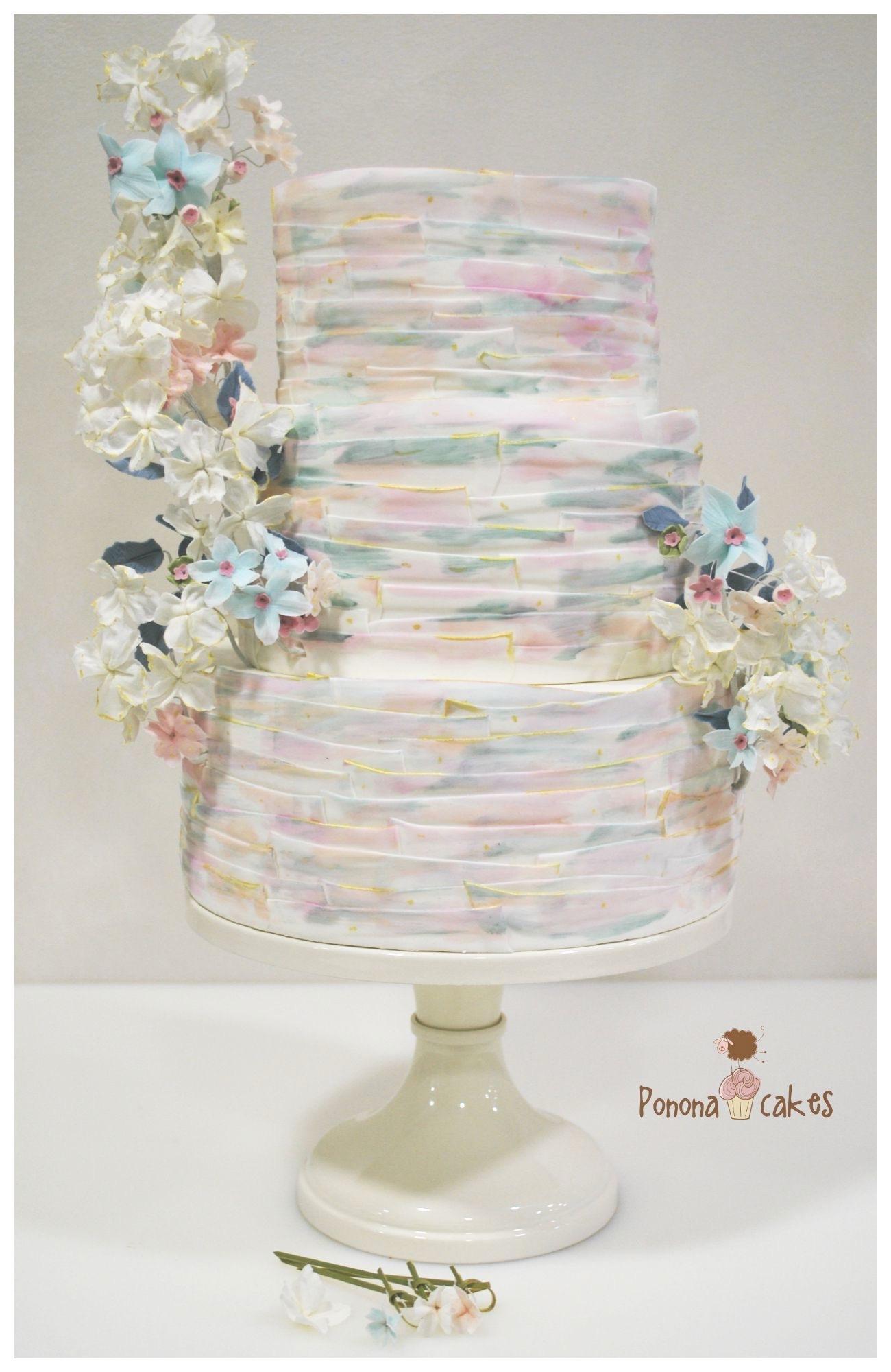 Pastel watercolor frill mixed pattern wedding