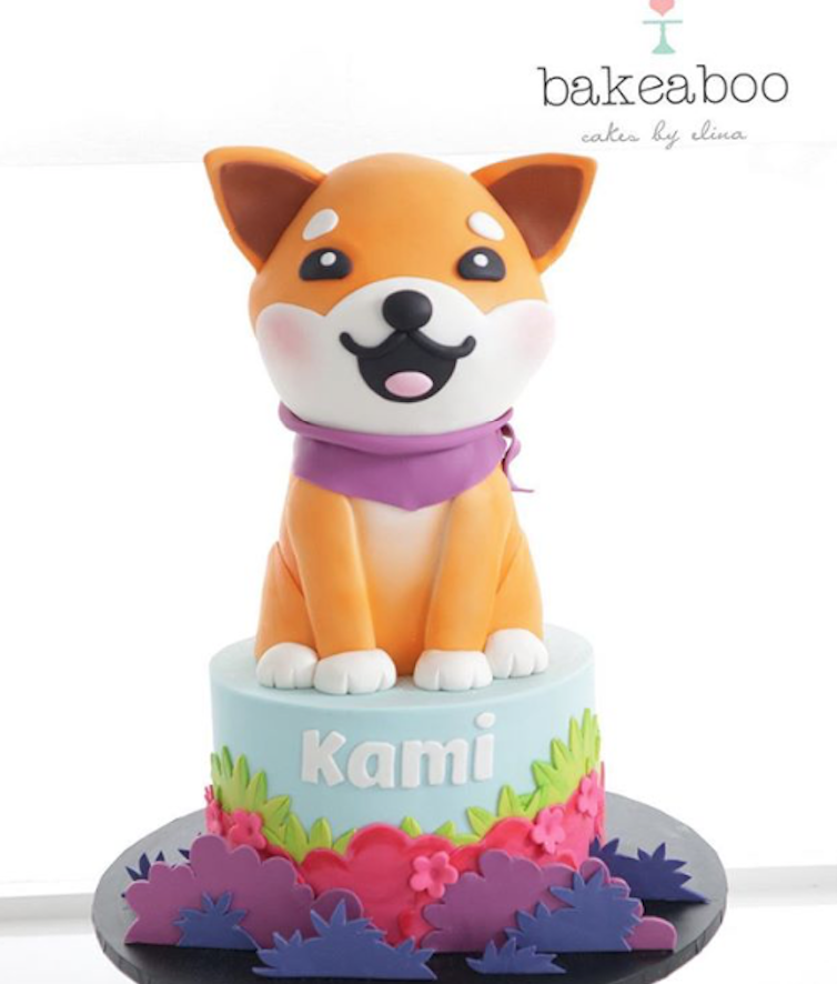 Sculpted fondant dog cake