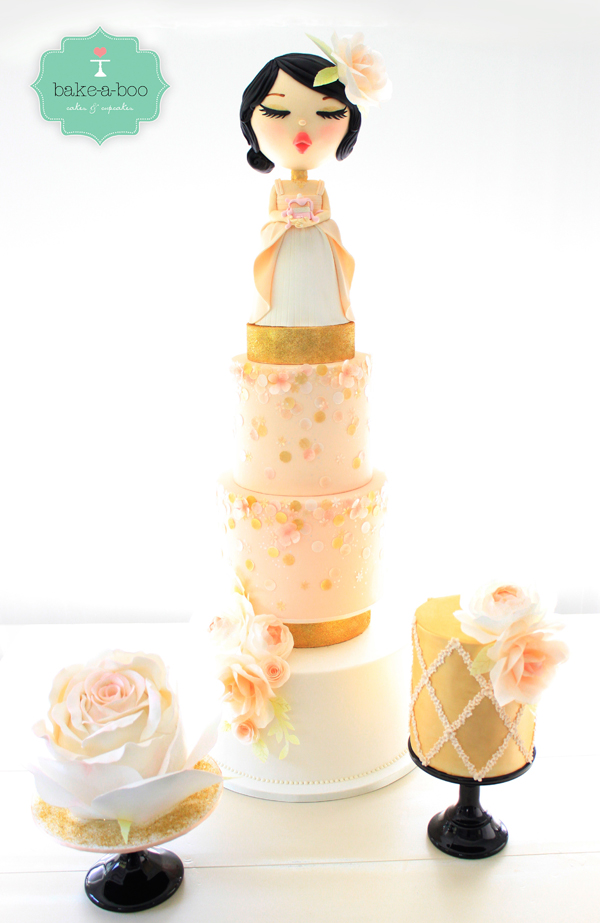 Peach Geisha Themed Cake