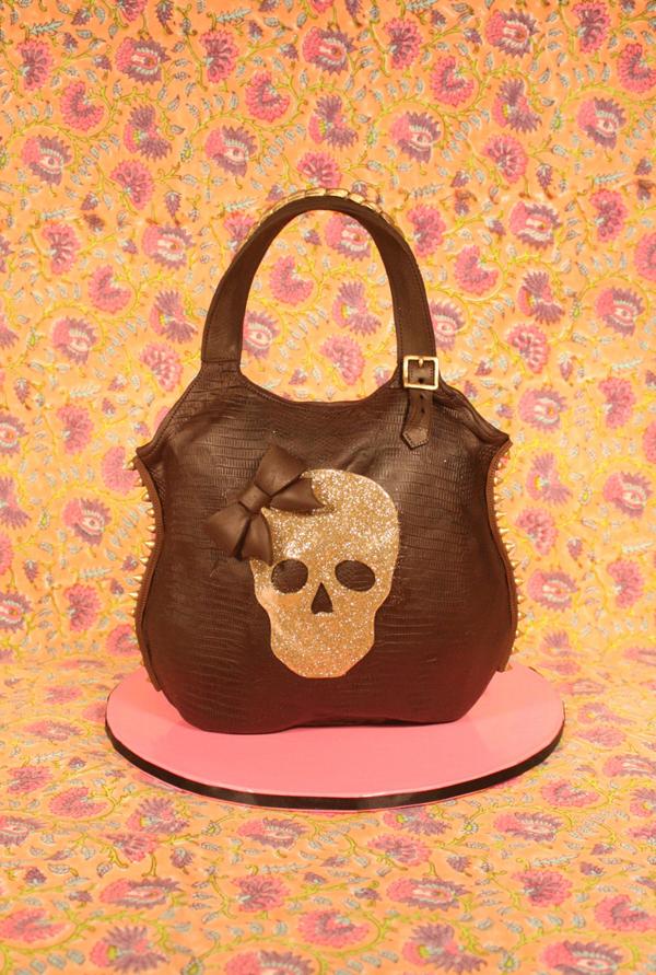 Skull black fondant Handbag cake