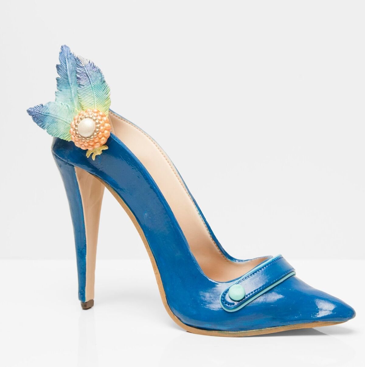 Blue Gum Paste high heel sugar shoe