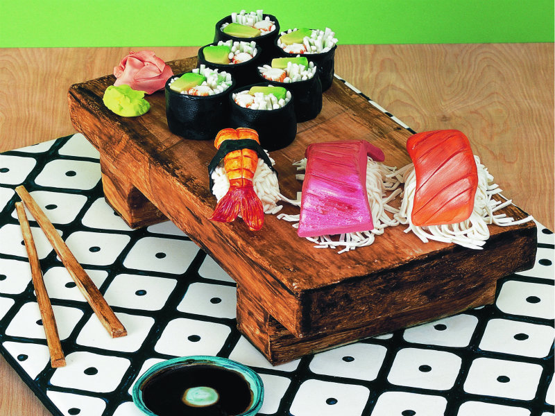 Sushi themed fondant birthday Cake