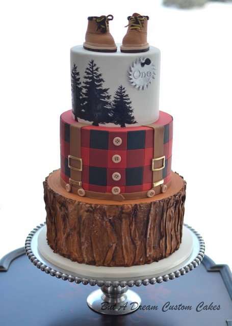 Woodland themed lumberjack birthday cake