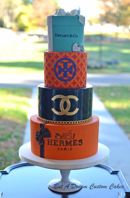Luxury shopping themed fondant birthday cake