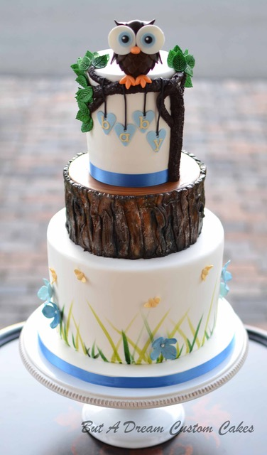 Woodland themed owl fondant cake