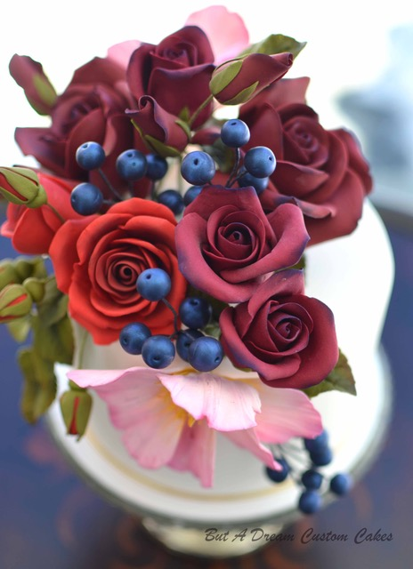 Burgundy sugar flowers