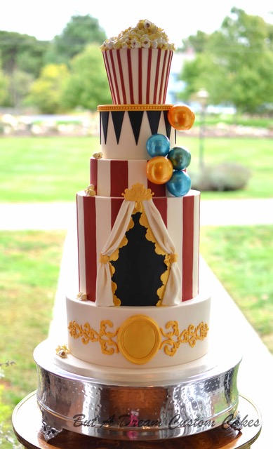 Circus themed fondant wedding cake