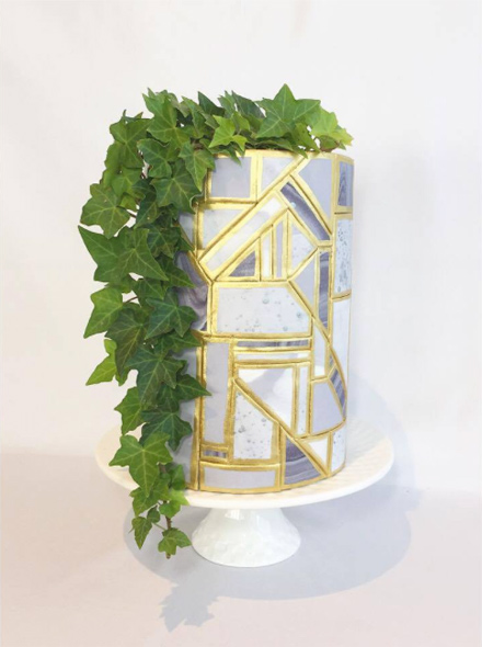 Gray fondant wedding cake with gum paste greenery