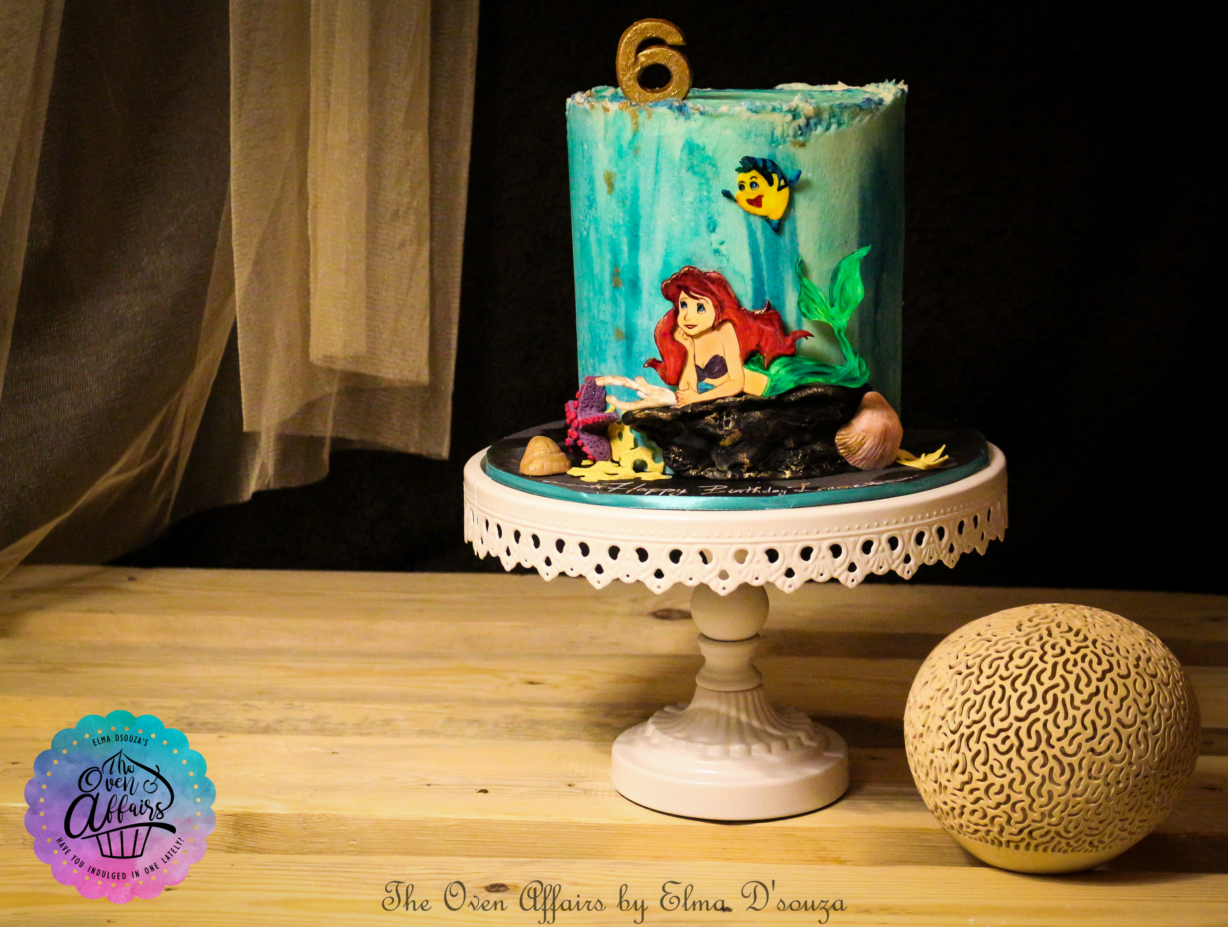 Hand painted Little Mermaid Birthday Cake