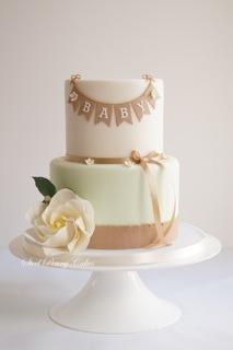 Pink & Green Burlap fondant Cake