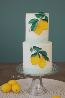 Hand painted lemon fondant wedding cake